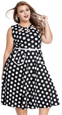 Womens Vintage 1950'S Polka Dots Casual Party Swing Dress Plus Size