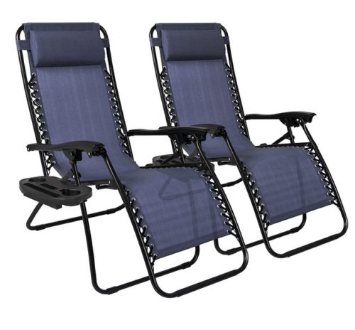 Zero Gravity Chairs Case Of (2) Lounge Patio Chairs Outdoor Yard Beach- Navy Blue