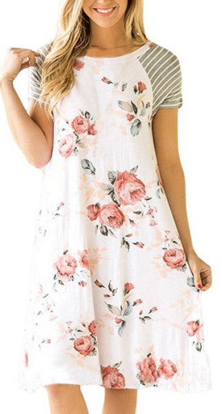 Women's Floral Loose T-shirt Dress