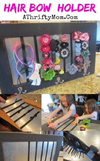 Hair bow holder, great way to organize hair bows, clips, headbands and ribbons #DIY