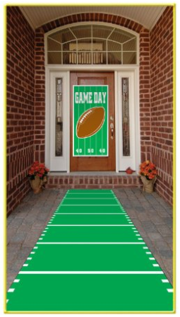 gameday football banner leading to the front door, superbowl party ideas