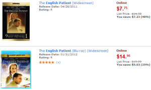 English Patient movie at Walmart