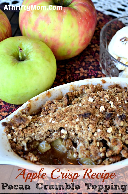 Apple Crisp recipe for one ~ with Pecan Crumble Topping.  Wonderful Fall recipe you have to try #Fall #Apples #Recipe #Crisp #Pecans #oatmeal