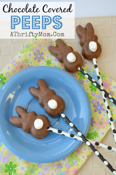 chocolate covered peeps on a stick, SO simple but SO cute #Peeps, #easter, #desssert #GiftIdea