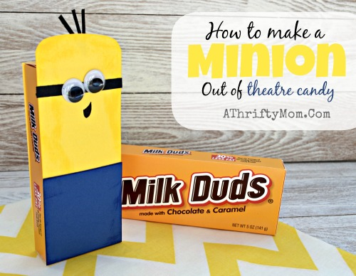 How to make a Minion out of theatre candy, Minions, Minion Craft Idea. Makes a great gift idea add a gift card or a few movie tickets, #Minions, #Minion, #KidCrafts