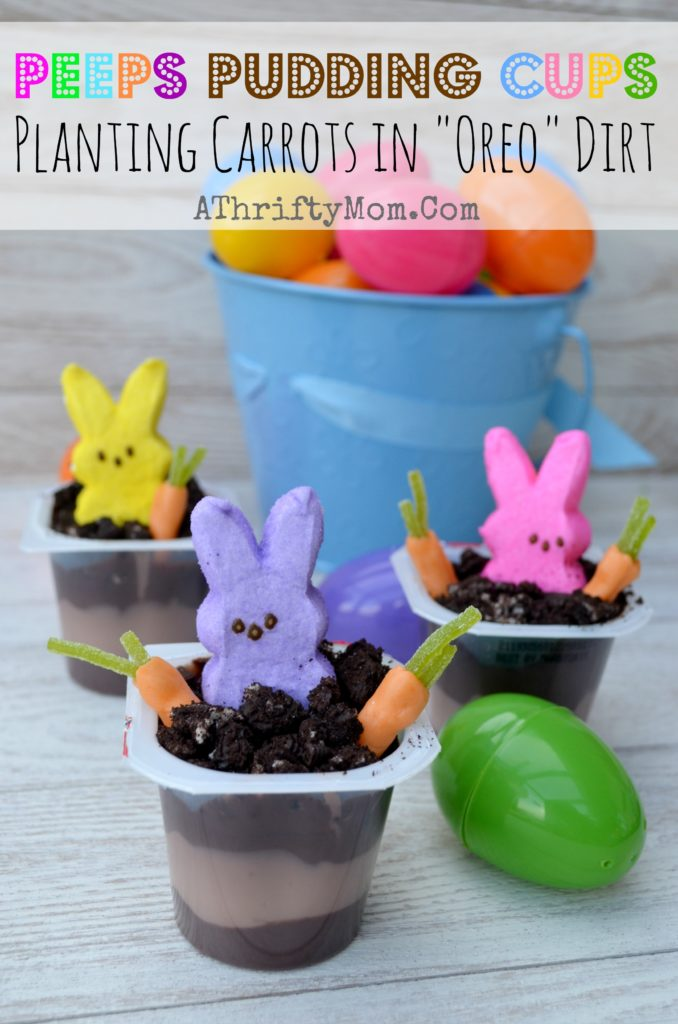 Peeps In the Dirt Pudding Cups, with OREO Dirt.  Quick and Easy Easter Dessert #Peeps, #Easter, #Pudding, #Oreos