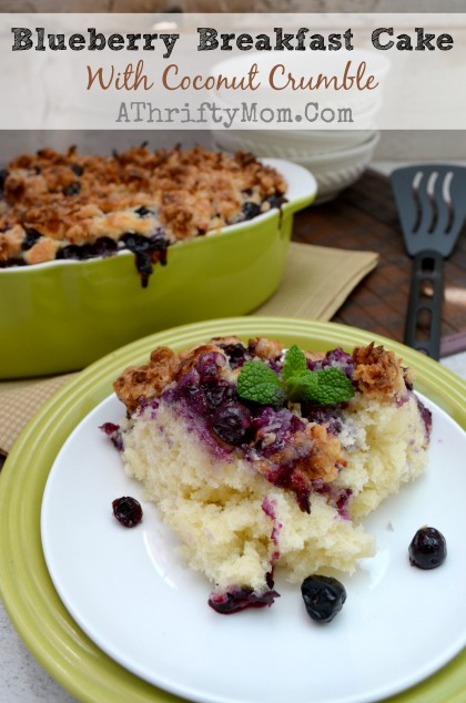 Blueberry Breakfast Cake with Coconut Crumble Topping, #Breakfast, #Cake, #Blueberry, #Coconut, #Recipe