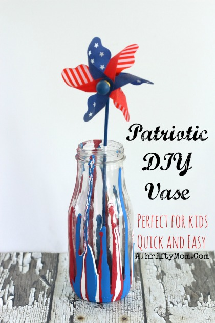 July 4th crafts, Drip Paint Vase, perfect for kids or teens. DIY Red, White and Blue Vase #DIY, #Crafts ,