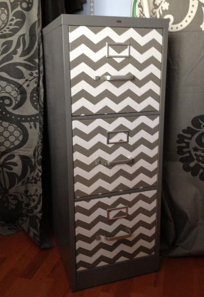 Chevron filing cabinet made with chevron print contact paper, #DIY, #Chevron