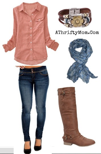 Pink top perfect for Fall, matched with skinny jeans and leather boots #fashion, #Fall, #Amazon