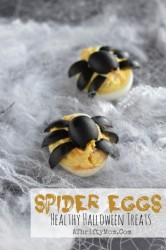 Deviled Eggs with Spiders, Halloween treats that are healthy, #Eggs, #HealthyHalloweenFood, #SpiderEggs, #Halloween