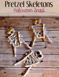 pretzel skeletons, halloween snack, #Halloween, #halloweensnack,#Halloweengoodies,#halloweenparty, #thriftyhalloweensnacks, #thriftysnackideas, #pretzels, #candycoating, #halloweencandy, #falltreatideas, #halloweentreats