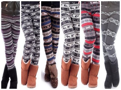 winter print leggings fleece lined
