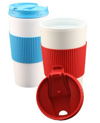 Double Wall Coffee Cups with flip top lids and free recipe book