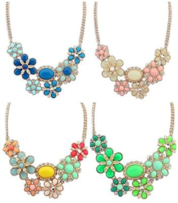 Floral Big Jewelry Beads Bohemian Necklaces Bib Choker Hawaii Pendant