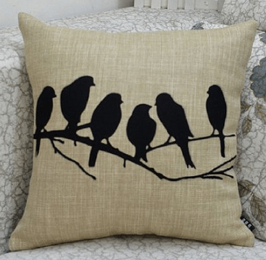 Home Deor ideas, Birds, bird silhouette pillow on linen, love this shabby chic, easy way to restyle any room in your house