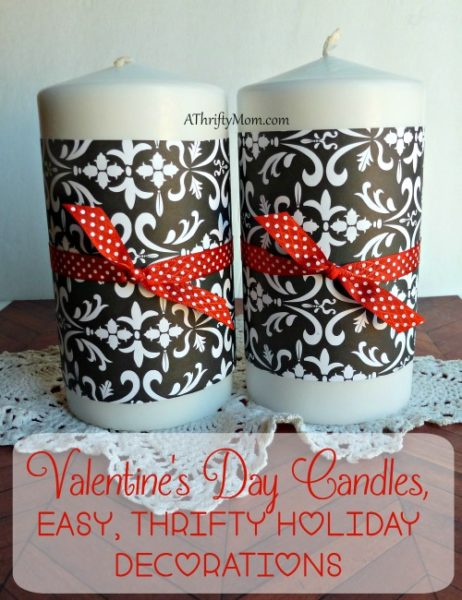 Valentines day candles, easy, thrifty Holiday decorations, #holday, #valentinesday, #valentine, #thriftyvalentinedecorations, #thrifyvalentines, #decorations, #candles, #scrapbookpaper