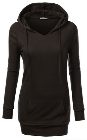 Womens Long Sleeve Raglan Crewneck Tunic Sweatshirt