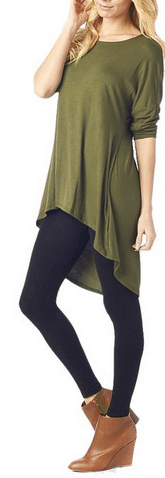 Women's Rayon Span High & Low Tunic with Sleeves