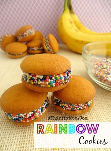 Rainbow St. Patricks Day Cookies Healthy snack with fresh bannas an nilla cookies, St Pattys day snack