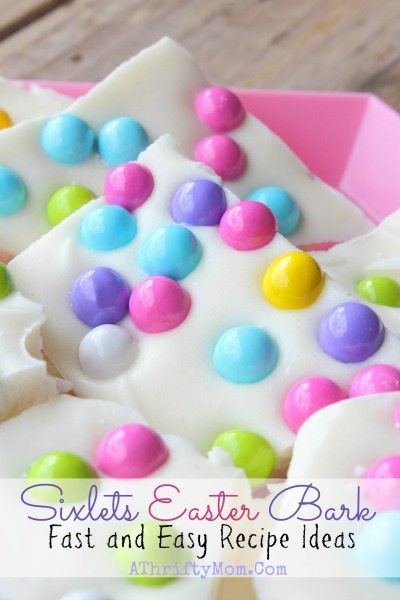 Almond Bark Easter Recipe, Sixlets Candy Easter Bark, last minute easter treat ideas, SO easy to make and looks so fun, spring recipes