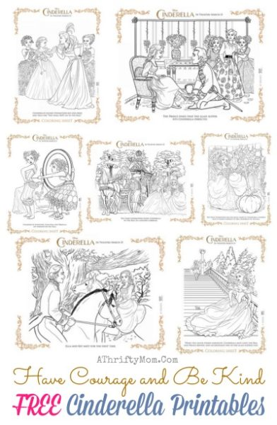 Have Courage and Be Kind, FREE PRINTABLE Coloring pages, Cinderella Disney 2015, Cinerella themed party ideas