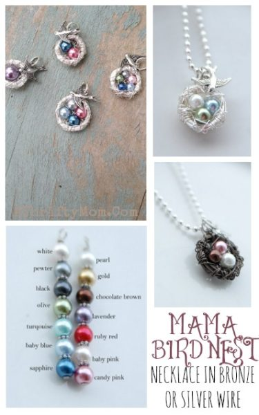 Mothers Day gift idea, momma bird nest necklace with pearls for each child , love this and the Jamberry nail wraps too