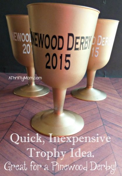 quick, inexpensive trophy idea, great for a pinewood derby, #trophy, #spraypaint, #plasticcup, #vinyl, #easycraft, #thriftycraft,#thriftytrophy, #scouting, #scoutleaderidea