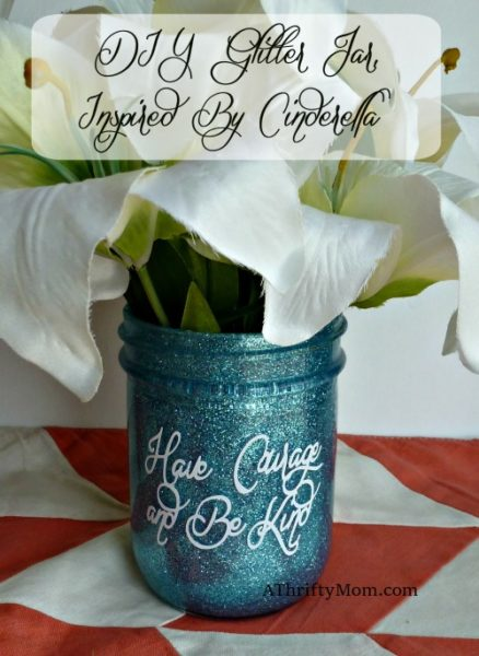 Glitter jar diy, inspired by Cinderella, glitter, glitter jar, diy, craft, thrifty craft idea, thrifty gift, glitter diy, quick craft, easy gift idea, mother's day gift idea, diy vase