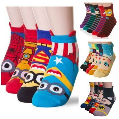 cute cartoon socks, minions, avengers, superhero, hulk, princess, batman, superman, gift ideas