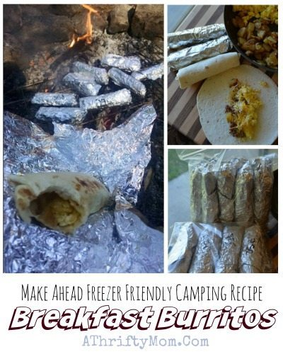 camping menu recipe ideas, Freezer Freindly breakfast burritos made on the campfire, camping hacks, breakfast ideas for outdoor cooking
