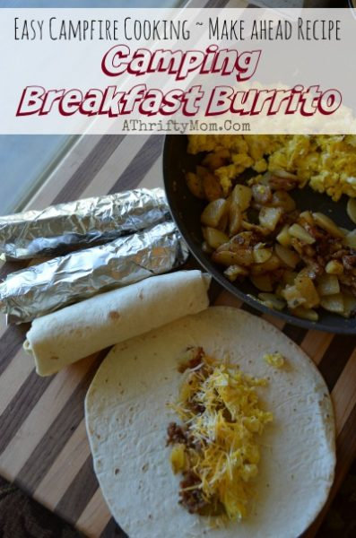 camping menu recipe ideas, breakfast burritos made on the campfire, camping hacks, breakfast ideas for outdoor cooking, menu plan