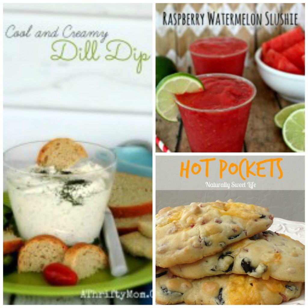 Dill dip, raspberry watermelon slushie, gluten free hot pockets