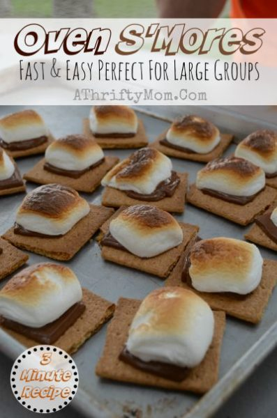 Oven S'mores, EASY camping recipe made right in your kitchen. Fast and easy and SO GOOD, perfect for a big group and less mess, Popular dessert ideas for summer