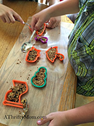 diy birdfeeder, summer boredom buster idea. inexpensive craft idea. birdseed, birdfeeder. diy craft,  kids craft, summer. thrifty craft idea