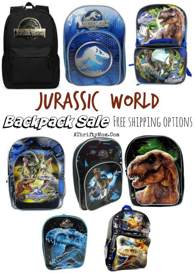 jurassic world, jurassic park dinosaur backpack and lunch box for school with free shipping, online deals for back to school shopping,
