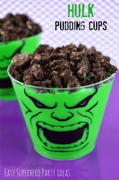Super Hero Advengers Theme Birthday Party, Hulk Pudding Cups, super hero dessert ideas, easy kids party ideas