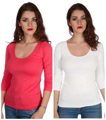 round neck 34 length sleeve top