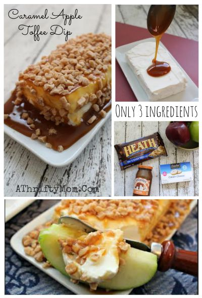 Caramel Apple Toffee Dip Recipe, SO EASY only 3 ingredients, Cream cheese apple dip recipe can be made in about 30 seconds flat, fall or Halloween party appetizers