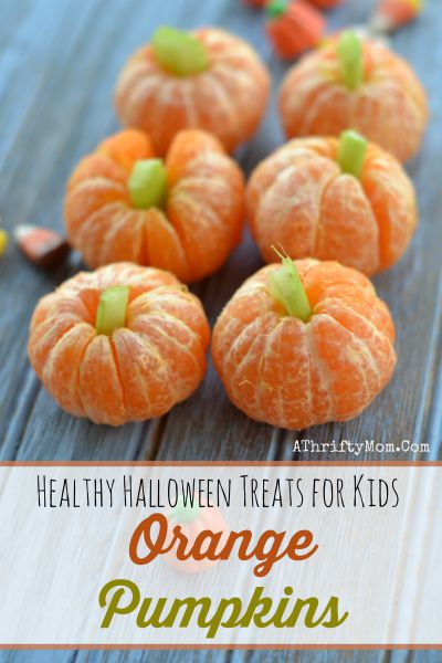 Healthy Halloween treats for kids, October School fun food ideas, Mini Orange Pumpkind with Celery Tops, finger food for kids that will make them smile,Fun and Easy Halloween Recipes, Halloween treats