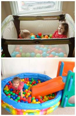make a ball pit new use for old toys