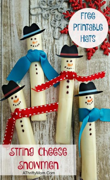 Free printable snowman hat,Healthy treats for schoo Christmas parties, easy christmas snacks Cheesestick Snowman Hat Printable, STRING CHEESE SNOWMEN