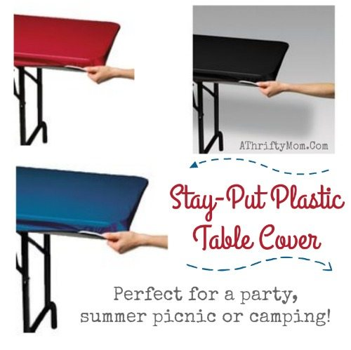 camping hacks, picnic and camping made easy clean up with these Stay-Put Plastic Table Cover,