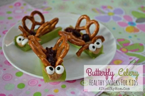 Butterfly Celery Snack Recipe, Healthy Recipes for kids, Funny lunch ideas, April Fools Jokes for kids