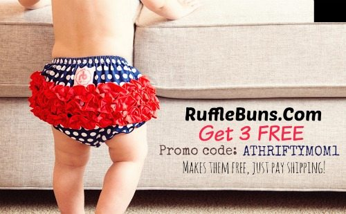 Free rufflebuns with promo code athriftymom1, free baby clothes, baby shower gift ideas, or 1st birthday baby gift ideas, freebies for babies