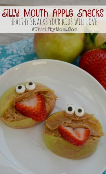 Fun and Healthy Snacks for kids,  Apple mouth with strawberry tonge, Funny lunch ideas, April Fools ideas for kids, Preschool party food, Silly Mouth Apples