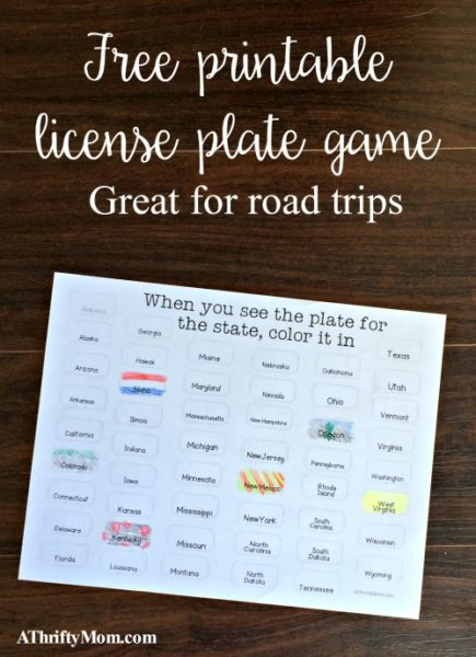 free printable license plate game, road trips, printable, license plate game, find the license plate, boredom buster, road trip games