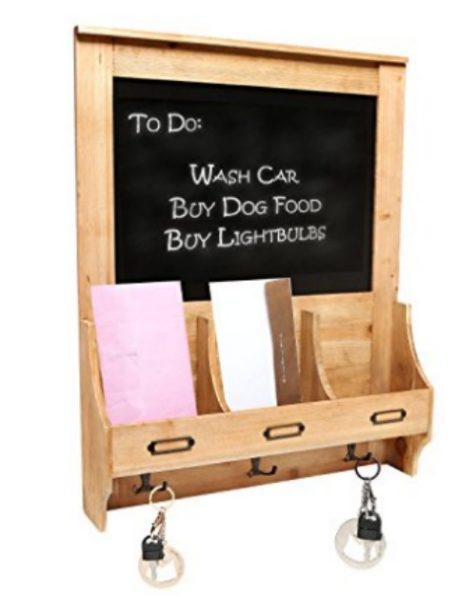 Rustic mail center and chalkboard