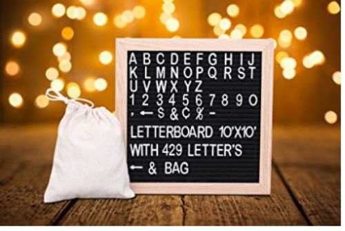 Felt letter board with letters