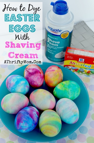 Roll the egg in the shaving cream to get color on each side. Place dyed eggs on a rack to let the color set. Refresh the shaving cream and food color as needed.